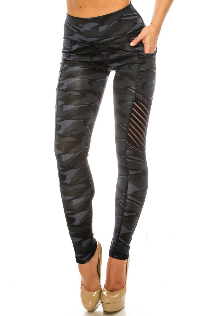 Front side image of Navy Camouflage Serrated Mesh High Waisted Sport Leggings