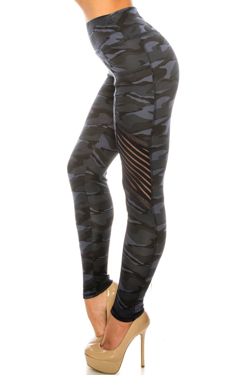 Left side image of Navy Camouflage Serrated Mesh High Waisted Sport Leggings showing the striped mesh and fishnet accents