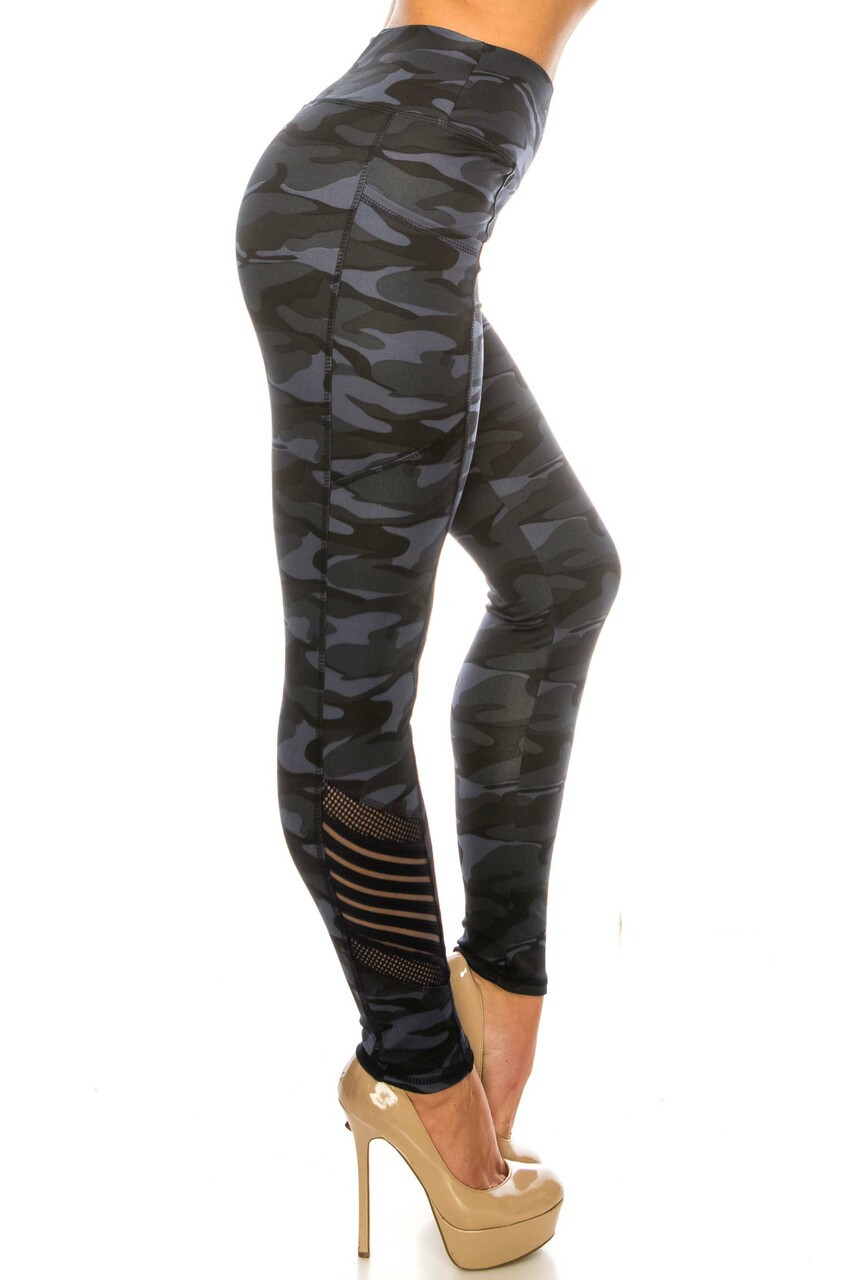 RIght side image of Navy Camouflage Serrated Mesh High Waisted Sport Leggings