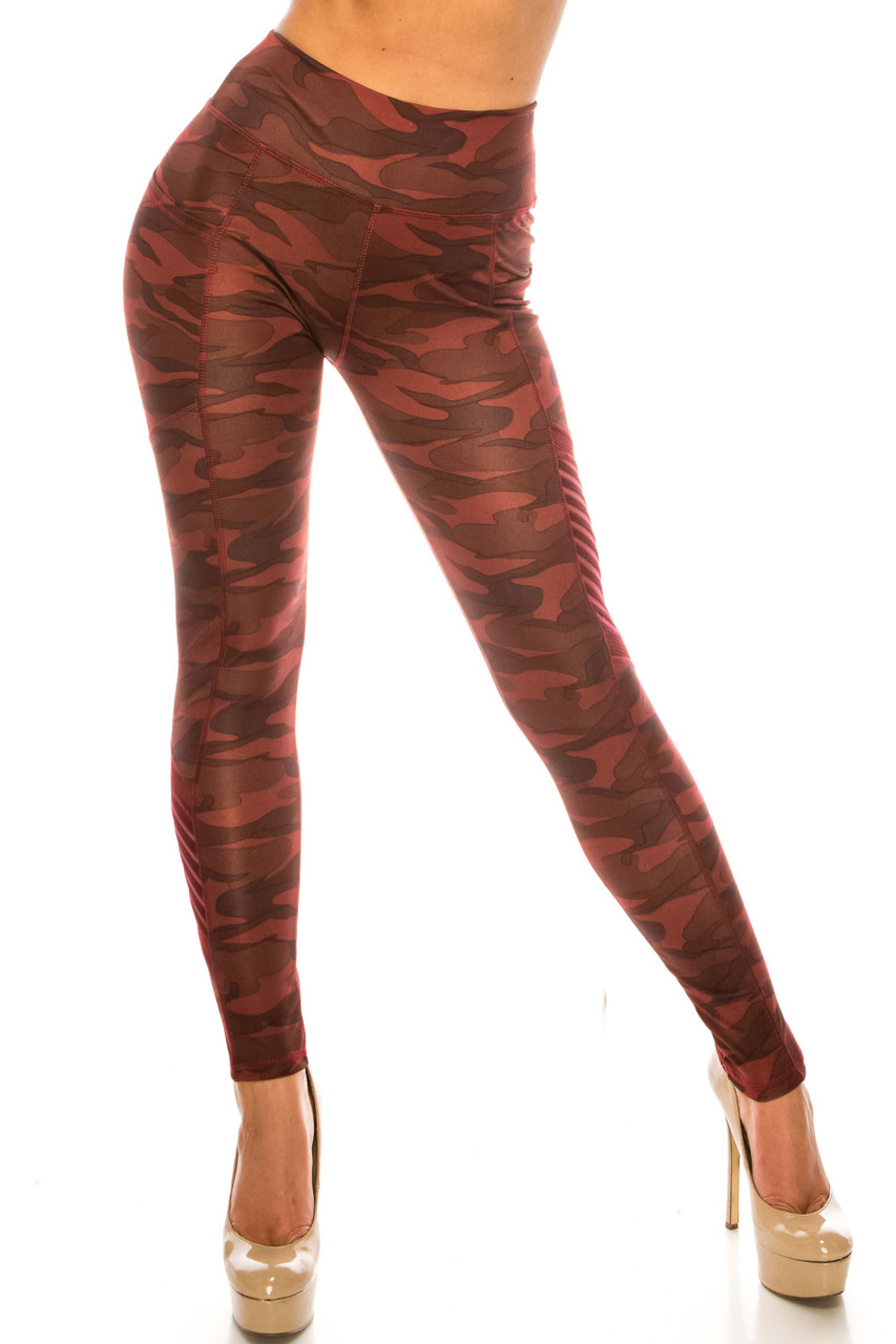 Front side image of Burgundy Camouflage Serrated Mesh High Waisted Sport Leggings showing off a fabulous and edgy deep red monochromatic army print design.