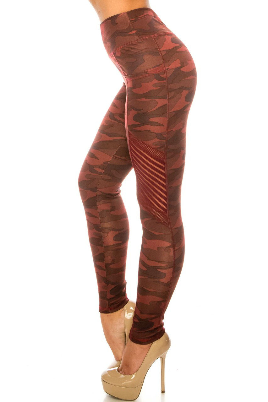 Left side image of Burgundy Camouflage Serrated Mesh High Waisted Sport Leggings showing the sassy striped mesh and fishnet accents