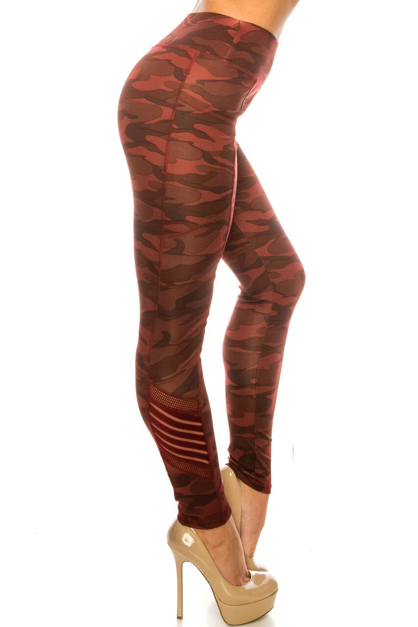 Right side image of Burgundy Camouflage Serrated Mesh High Waisted Sport Leggings