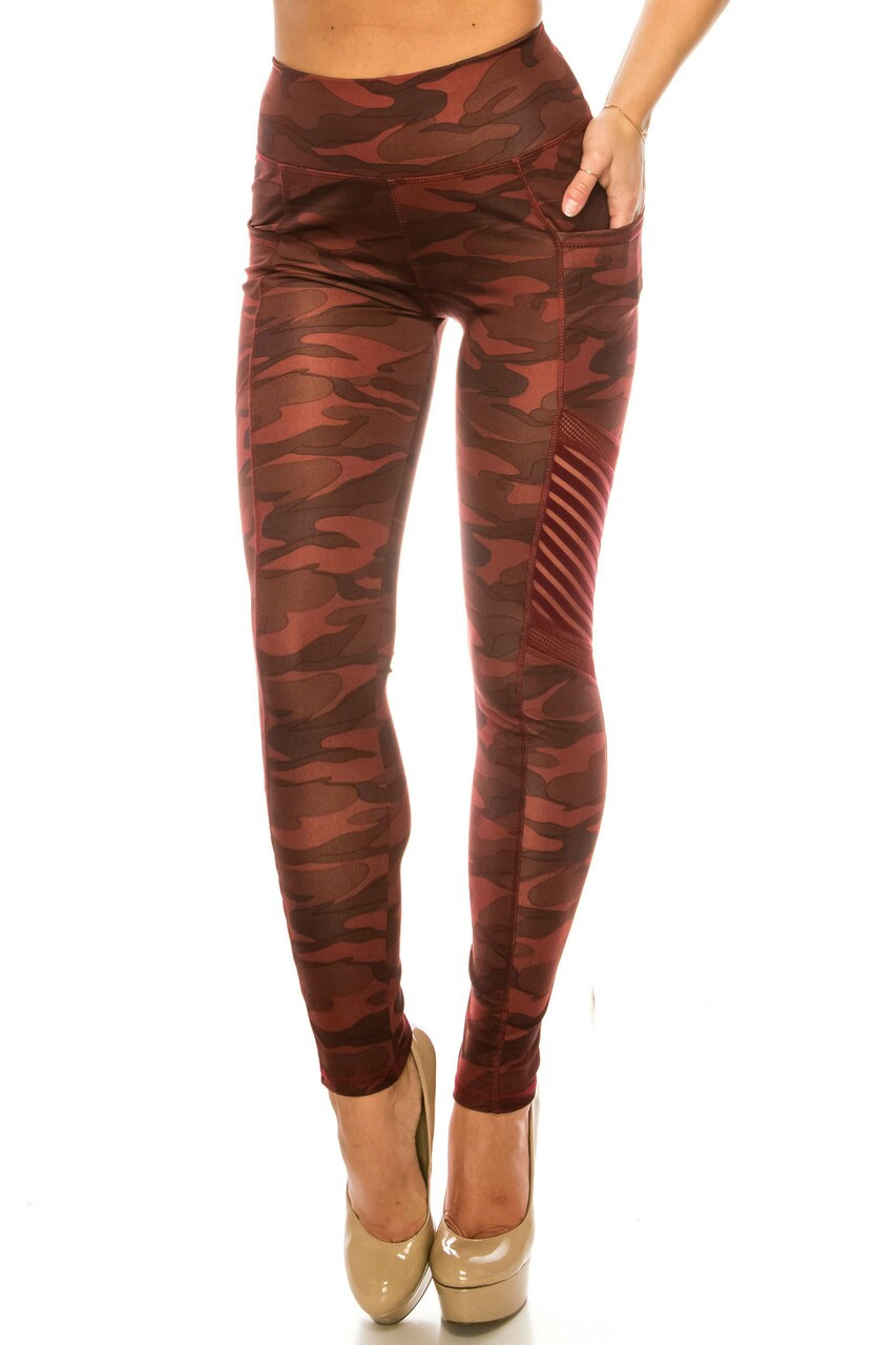Front image view of Burgundy Camouflage Serrated Mesh High Waisted Sport Leggings built for the gym with a trendy look for everyday fashion.