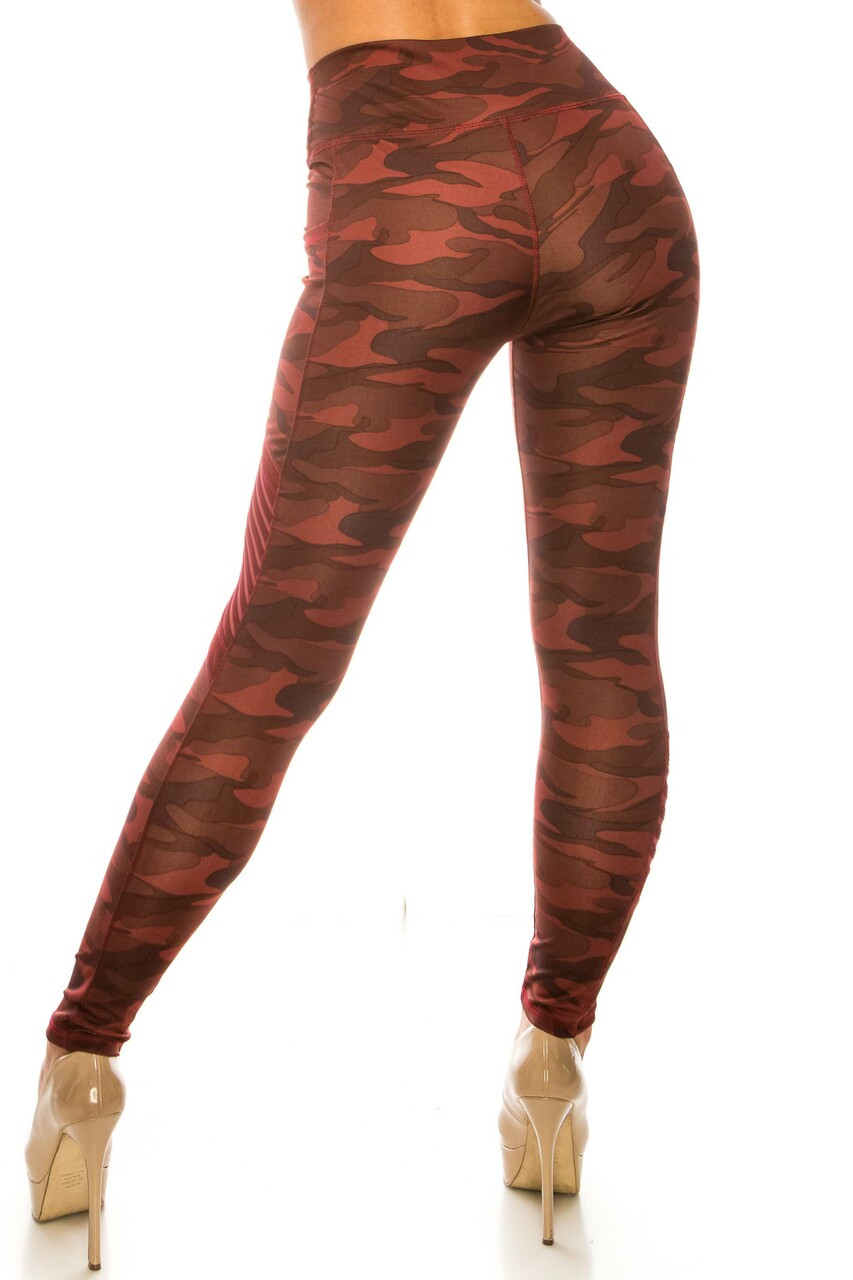 Back side image of Burgundy Camouflage Serrated Mesh High Waisted Sport Leggings showing off the fabulous figure-hugging view.