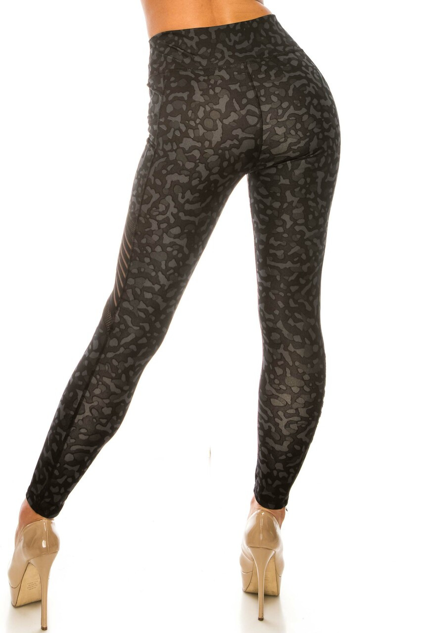 Back side image of Black Leopard Serrated Mesh High Waisted Sport Leggings with a fabulous fitted look