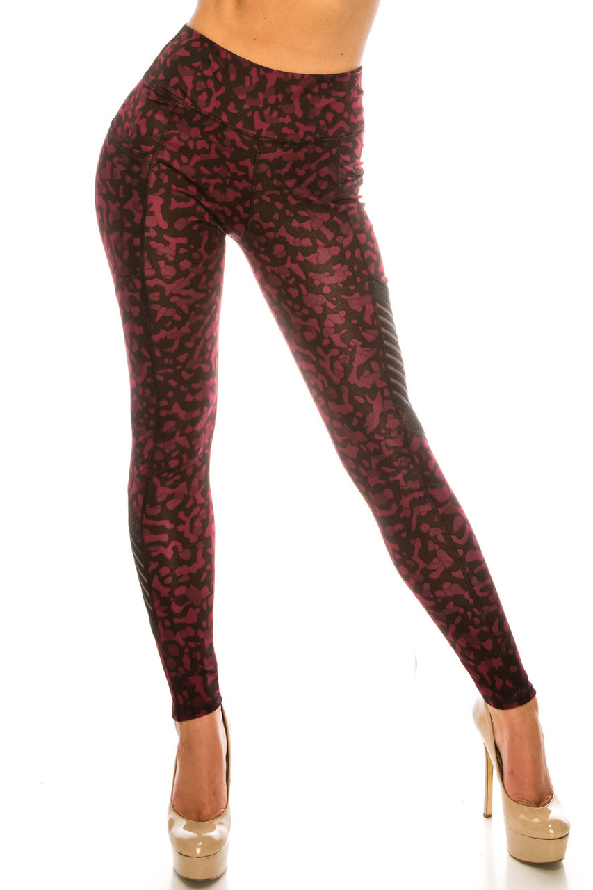 Front side image of Burgundy Leopard Serrated Mesh High Waisted Sport Leggings with sassy sheer accents and a sassy spotted anima print design