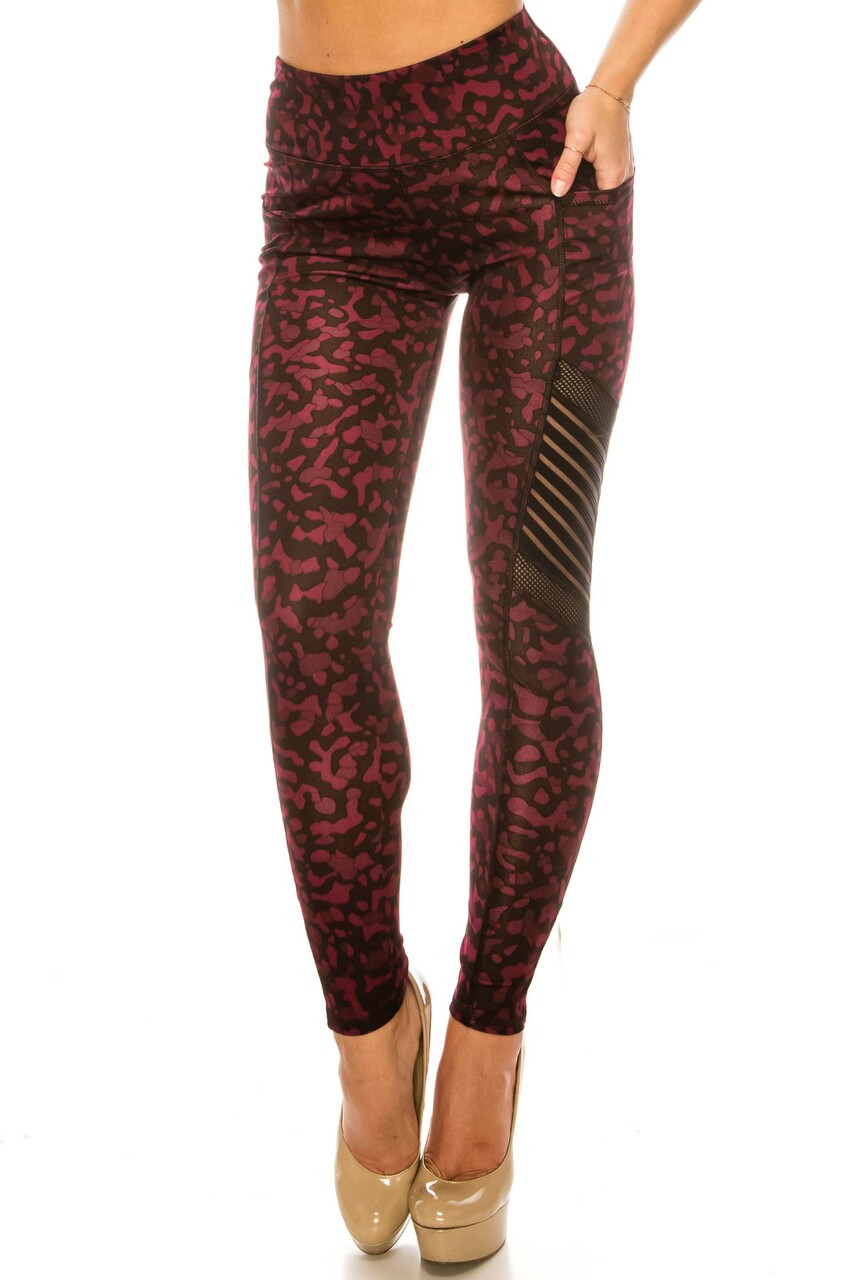 Front side image of Burgundy Leopard Serrated Mesh High Waisted Sport Leggings with a fun deep red animal print design.