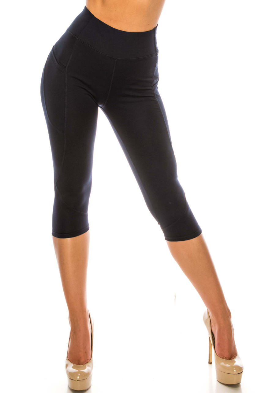 Front side image of Navy Contour Seam High Waisted Sport Capris with Pockets with a cropped mid-calf length