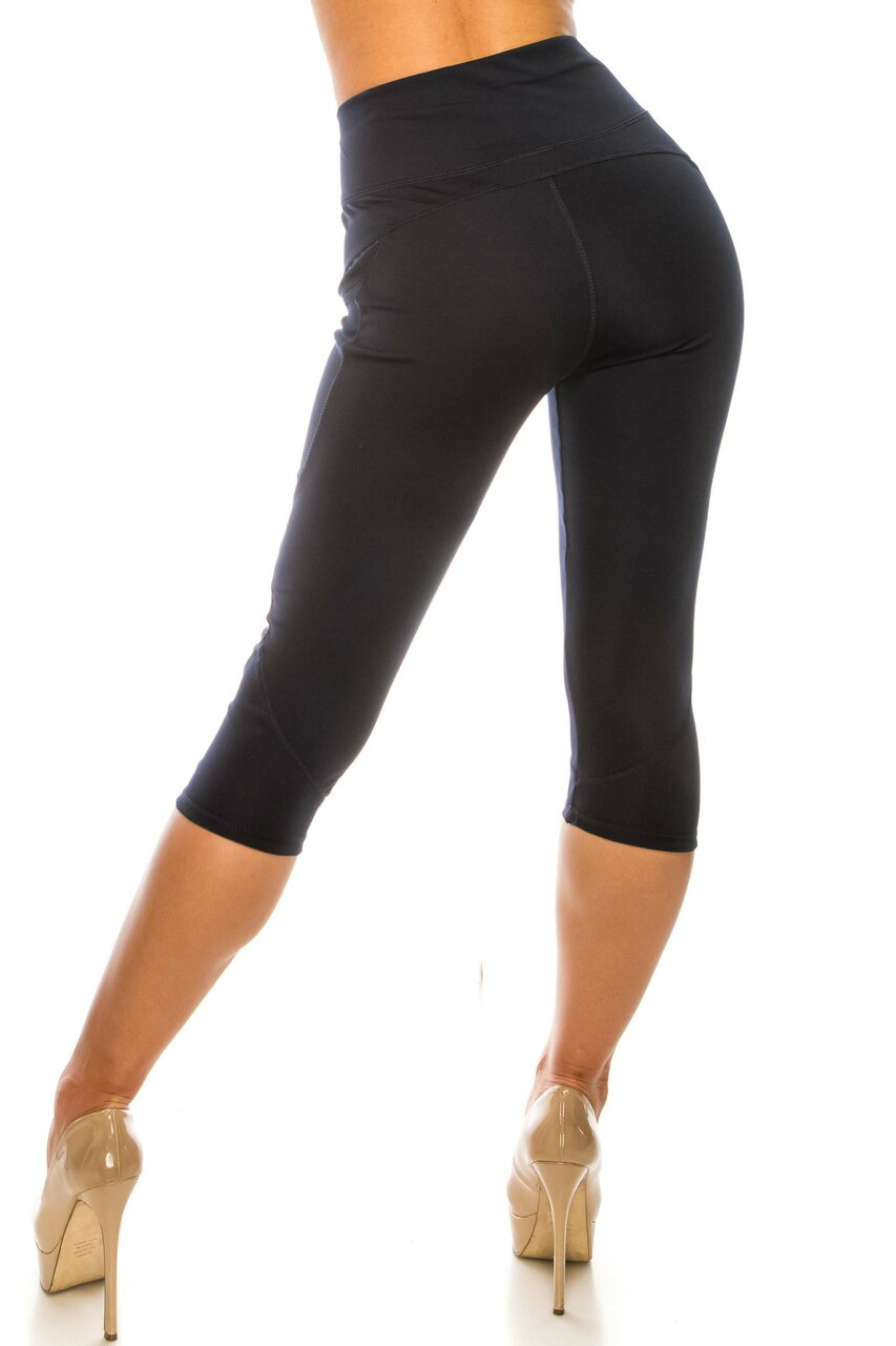 Navy Contour Seam High Waisted Sport Capris with Pockets with a subtle contouring effect