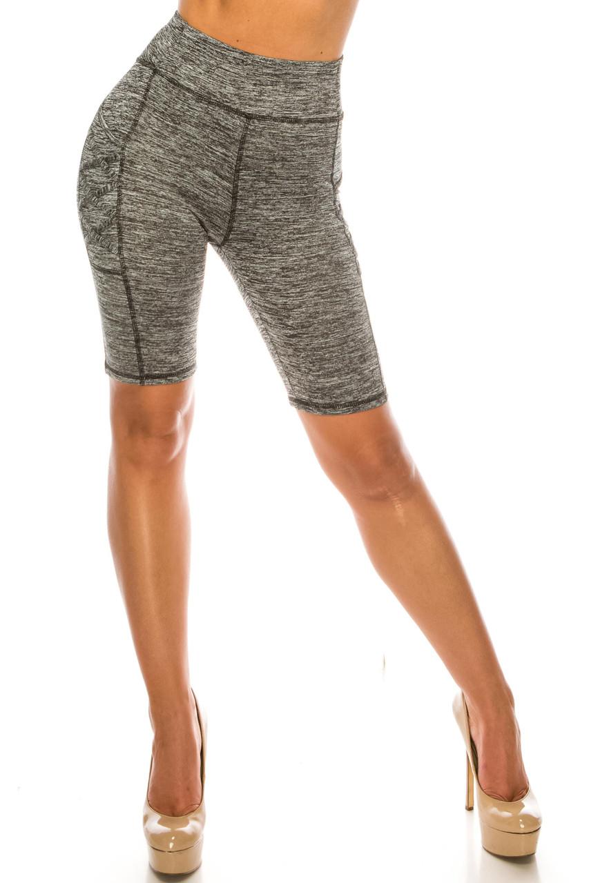 Gront side image of Solid Heathered Crisscross Detail High Waist Sport Biker Shorts with Side Pocket