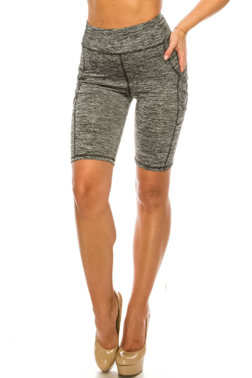 Front side image of Solid Heathered Crisscross Detail High Waist Sport Biker Shorts with Side Pocket