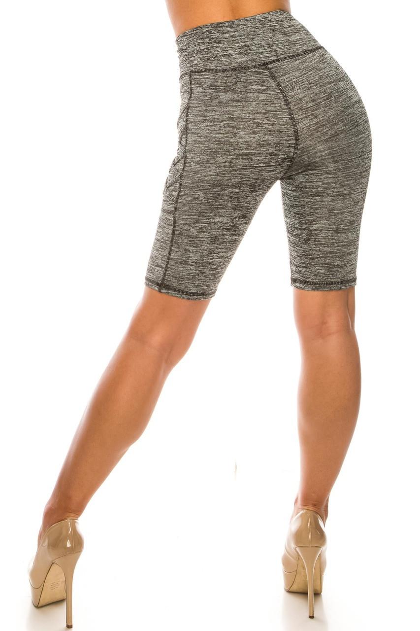 Back side image of Solid Heathered Crisscross Detail High Waist Sport Biker Shorts with Side Pocket