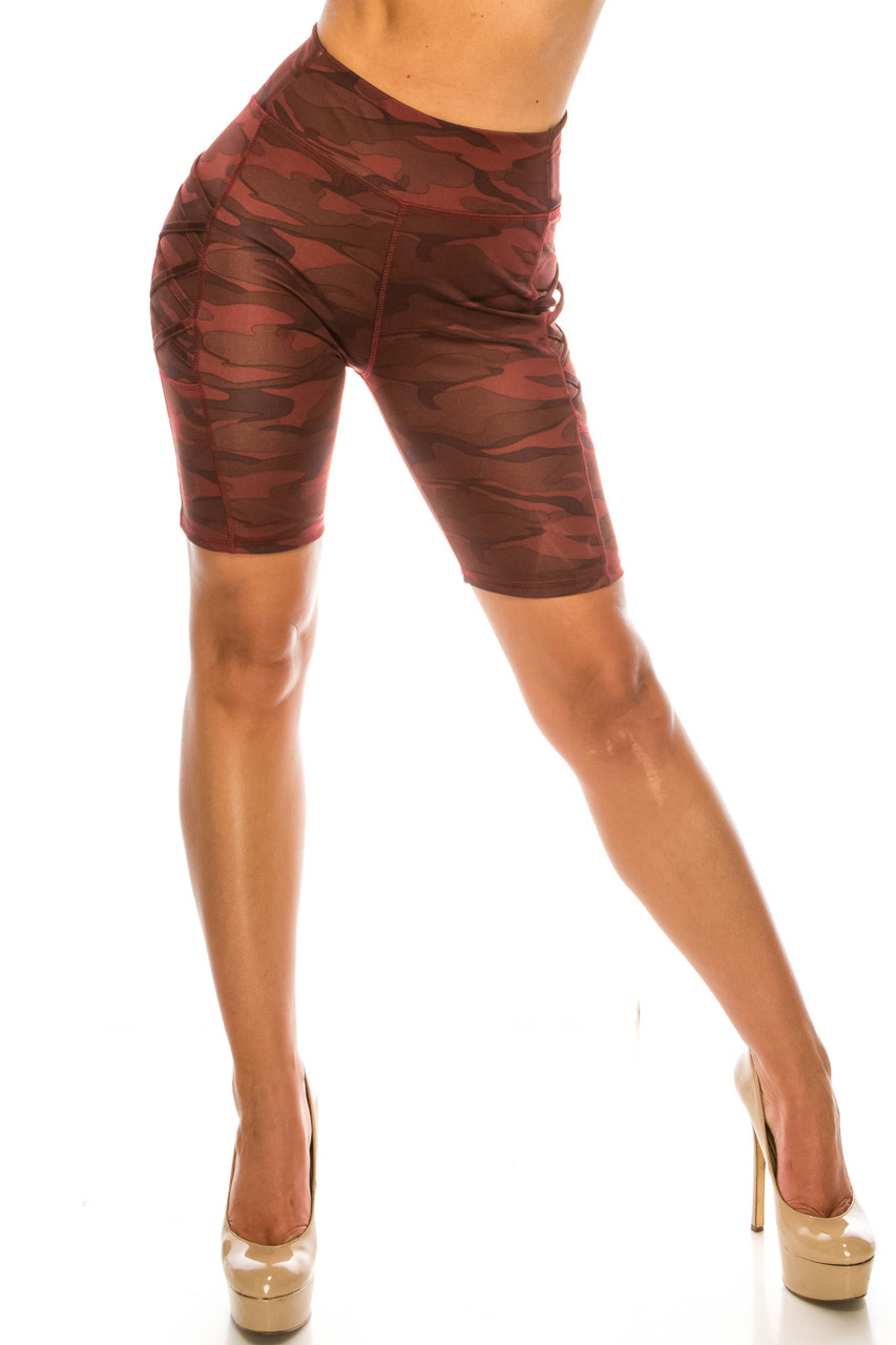 Front side image of Burgundy Camouflage Crisscross Detail Sport Biker Shorts with Side Pocket with a fabulous monochromatic deep red camo design.