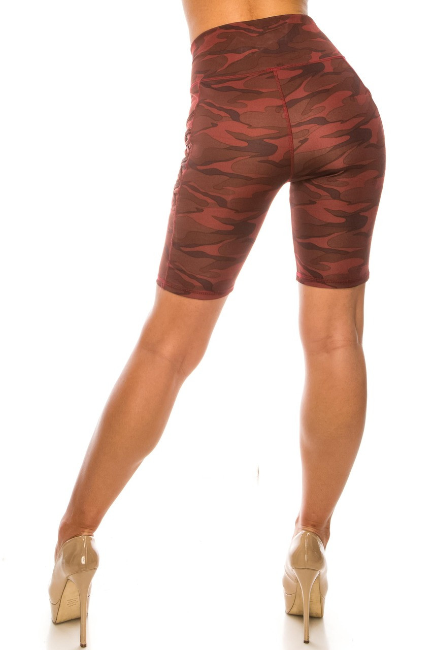 Back side image of Burgundy Camouflage Crisscross Detail Sport Biker Shorts with Side Pocket with a fashionable mid-thigh length