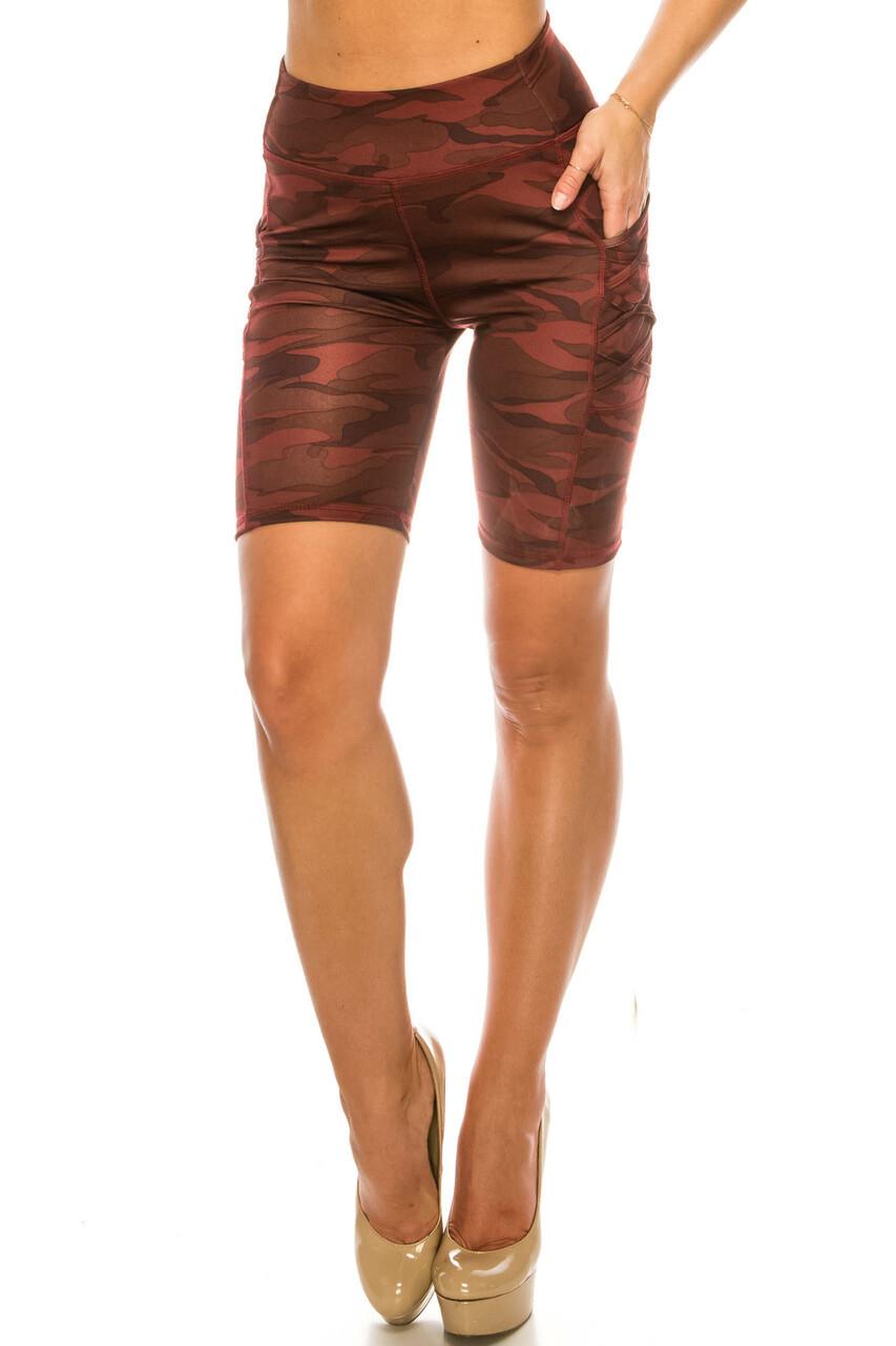 Front side image of Burgundy Camouflage Crisscross Detail Sport Biker Shorts with Side Pocket