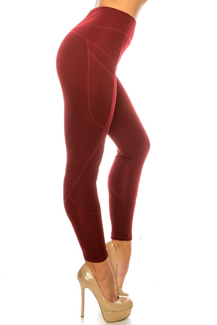 Right sid eimage of Solid Burgundy Contour Seam High Waisted Sport Leggings with Pockets