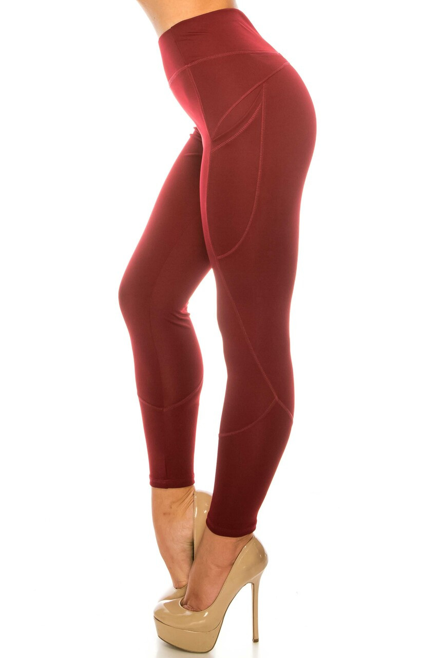 Left side image of Solid Burgundy Contour Seam High Waisted Sport Leggings with Pockets