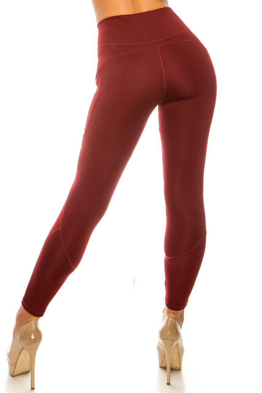 Back side image of Solid Burgundy Contour Seam High Waisted Sport Leggings with Pockets