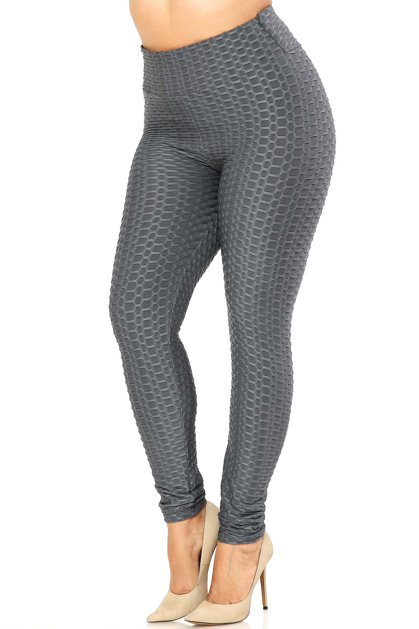 45 degree view of Charcoal Scrunch Butt Textured High Waisted Plus Size Leggings