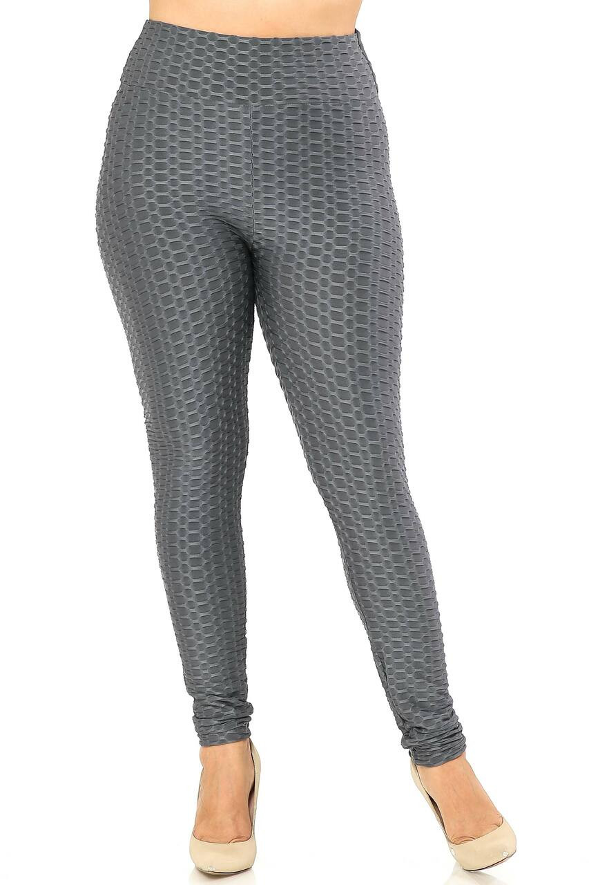 Front side image of Charcoal Scrunch Butt Textured High Waisted Plus Size Leggings