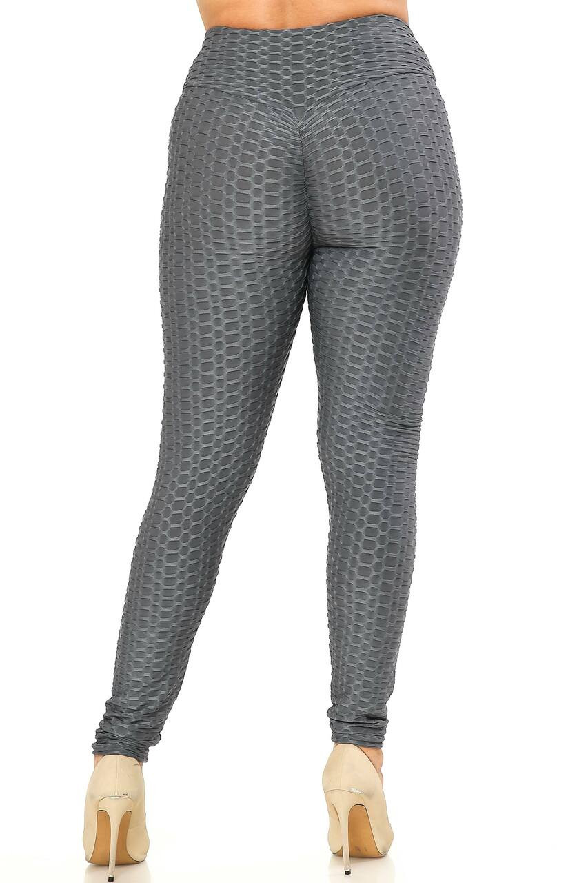 Back side image of Charcoal Scrunch Butt Textured High Waisted Plus Size Leggings