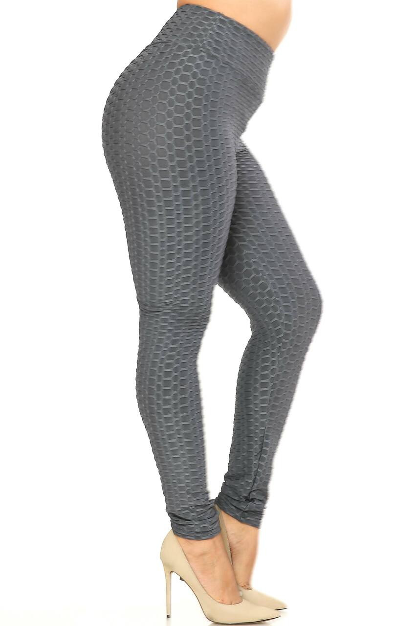 Right side image of Charcol Scrunch Butt Textured High Waisted Plus Size Leggings