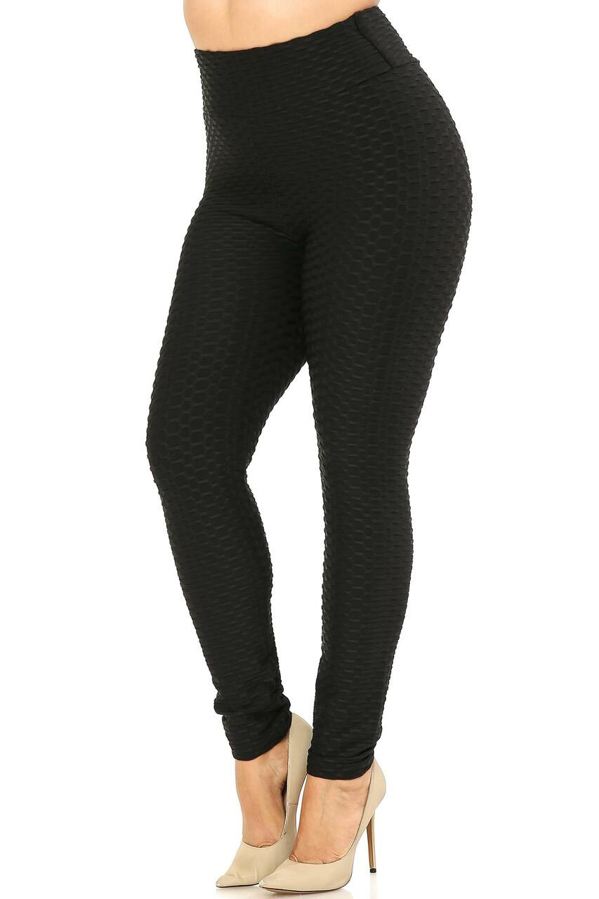 Left side image of Black Scrunch Butt Textured High Waisted Plus Size Leggings
