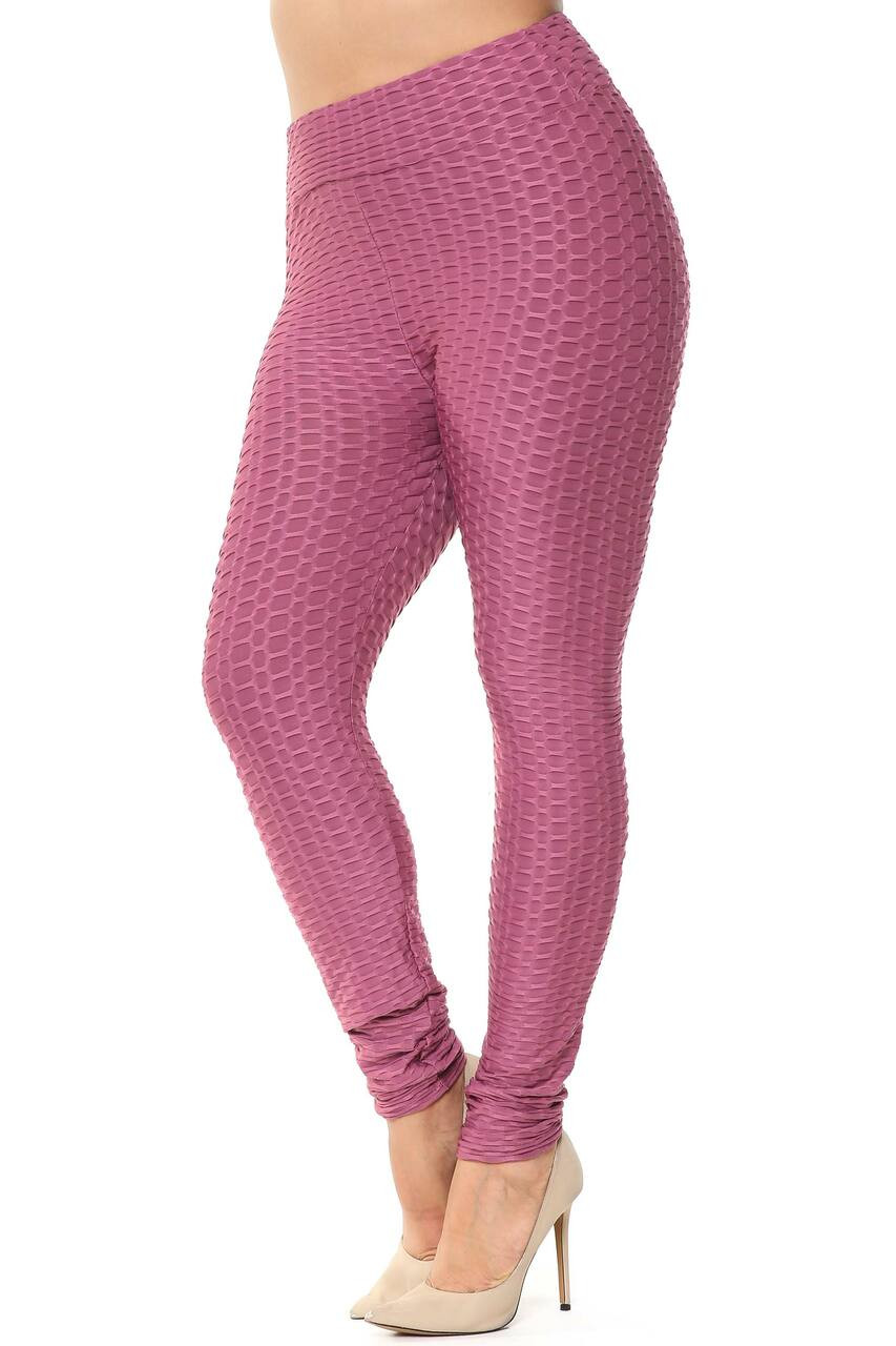 Left side image of Scrunch Butt Textured High Waisted Plus Size Leggings