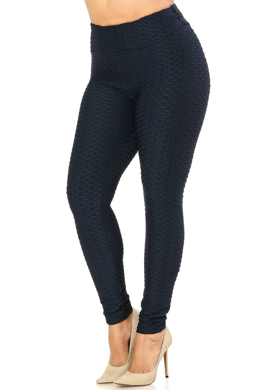 Left sid eimage of Black Scrunch Butt Textured High Waisted Plus Size Leggings
