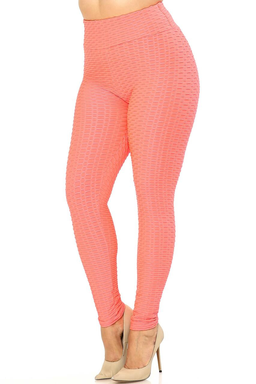 Left side image of Coral Scrunch Butt Textured High Waisted Plus Size Leggings