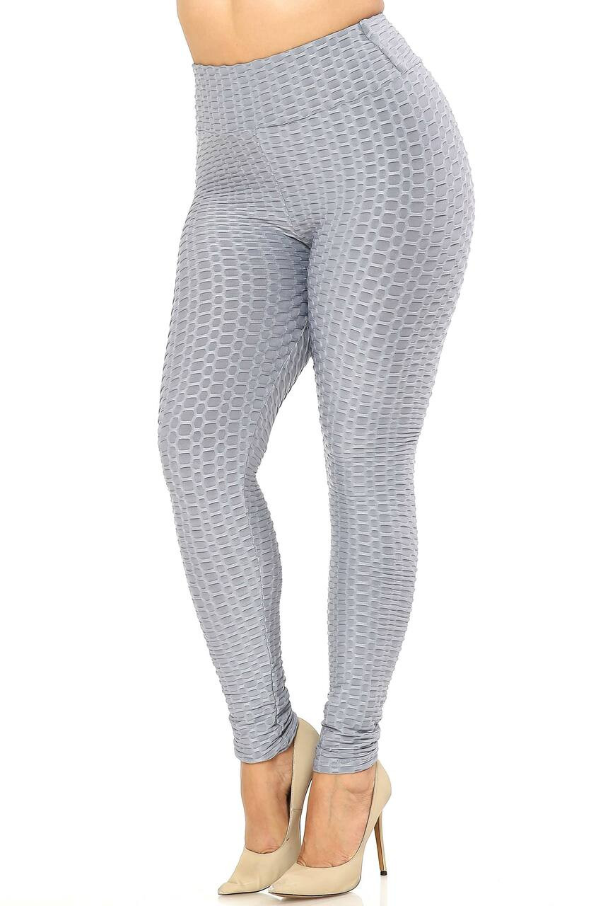 Left side image of Grey Scrunch Butt Textured High Waisted Plus Size Leggings