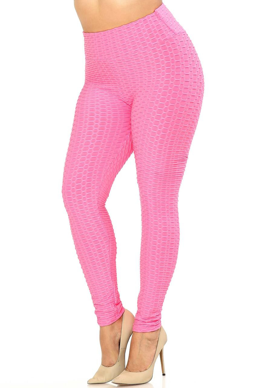 Left side image of Pink Scrunch Butt Textured High Waisted Plus Size Leggings