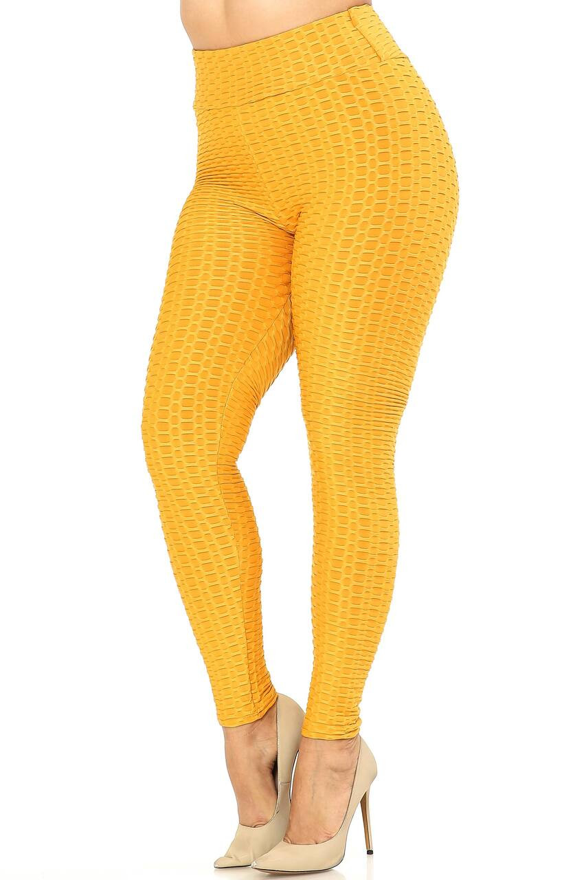 Left side image of Mustard Scrunch Butt Textured High Waisted Plus Size Leggings