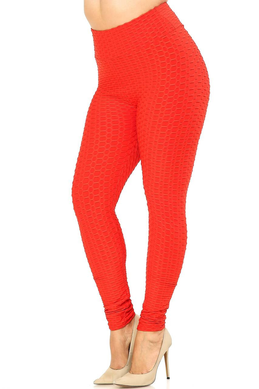 Left side imge of Scrunch Butt Textured High Waisted Plus Size Leggings