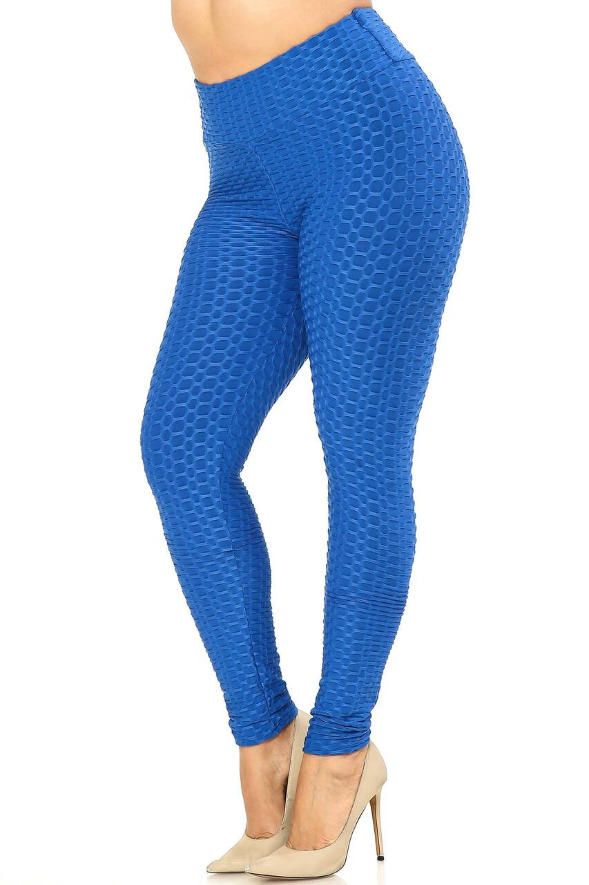 Left side image of Blue Scrunch Butt Textured High Waisted Plus Size Leggings