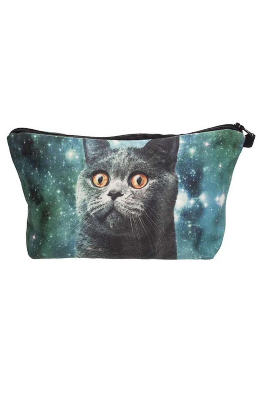 Image of Galaxy Kitty Cat Graphic Print Makeup Bag with a gray cat and blue/green space design