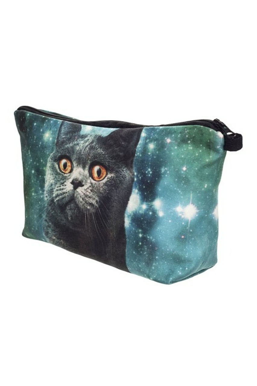 45 degree image of Galaxy Kitty Cat Graphic Print Makeup Bag with zip up closure