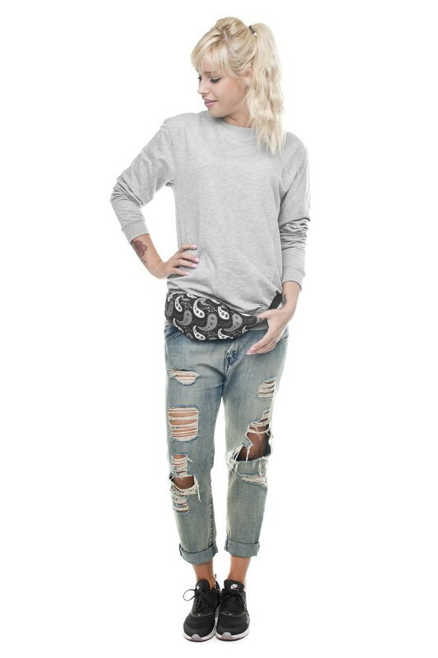 Image of model wearing Black and White Paisley Fanny Pack around the waist