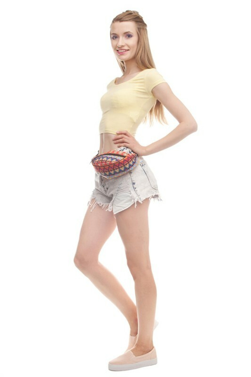 Image of model wearing Spicy Tribal Fanny Pack across the waist
