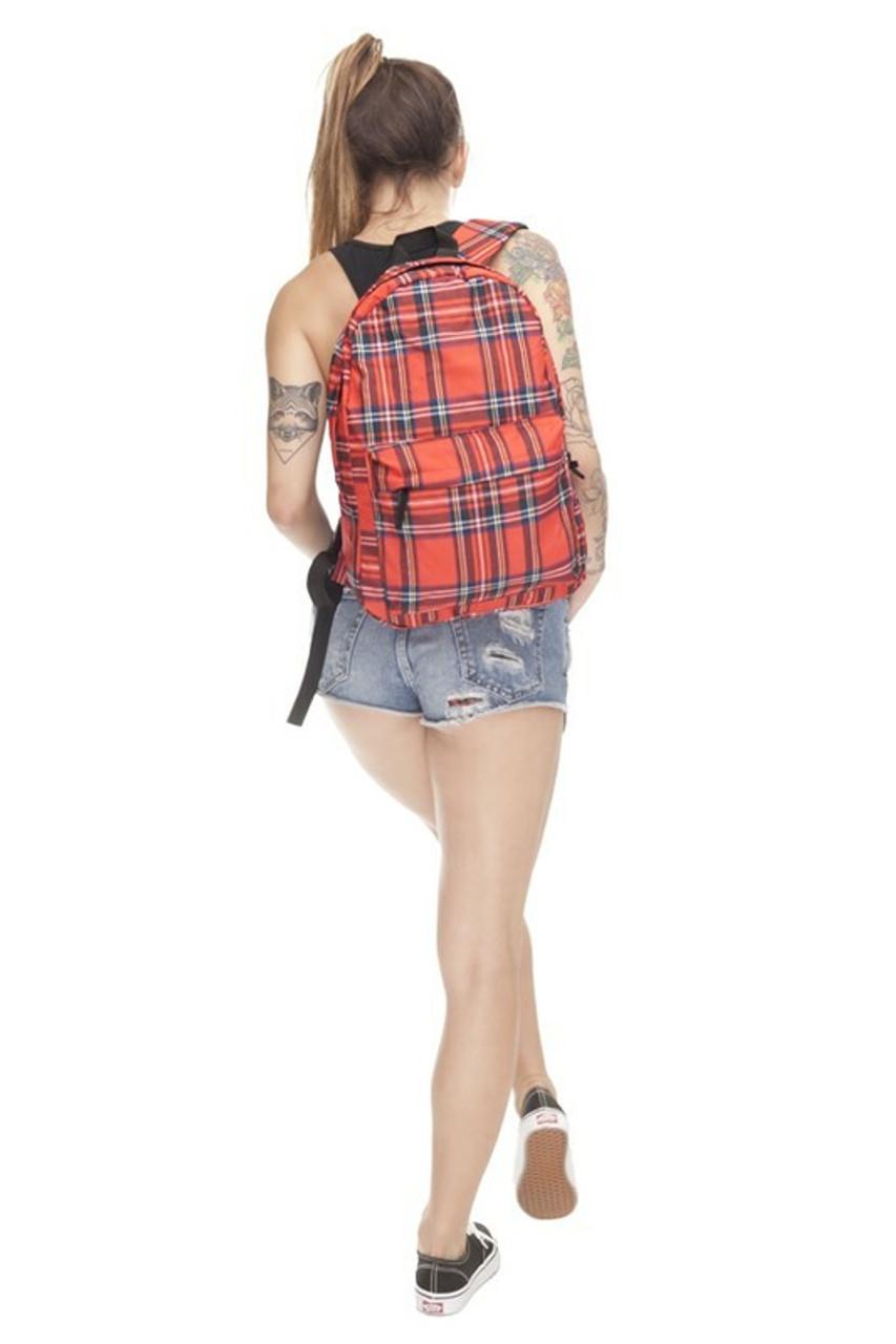 Model wearing Red Tartan Plaid Graphic Print Backpack