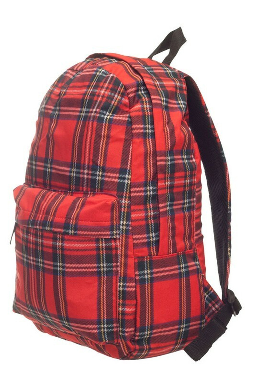 45 degree view of Red Tartan Plaid Graphic Print Backpack