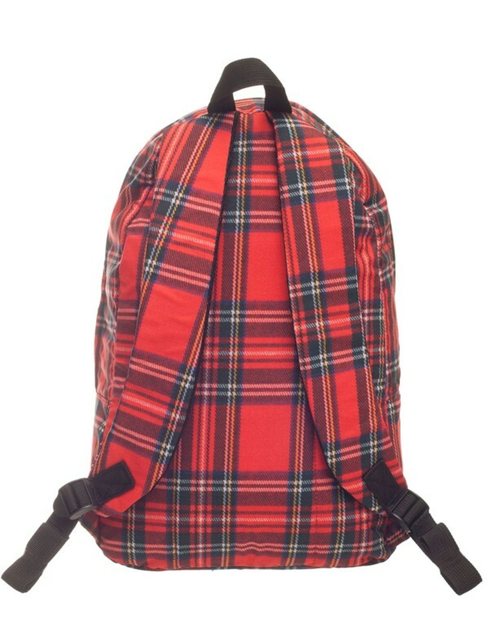 Back view of Red Tartan Plaid Graphic Print Backpack