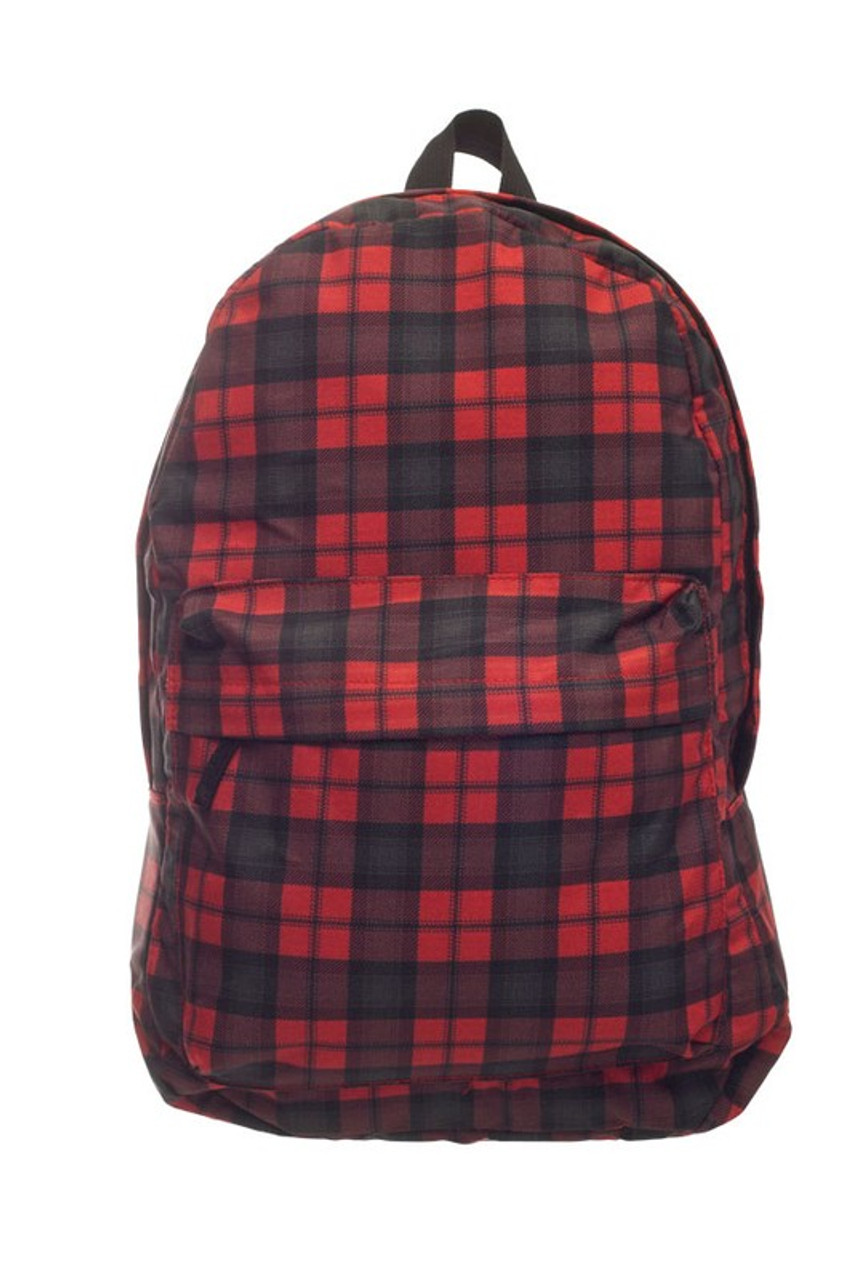 Front of Black and Red Plaid Graphic Print Backpack