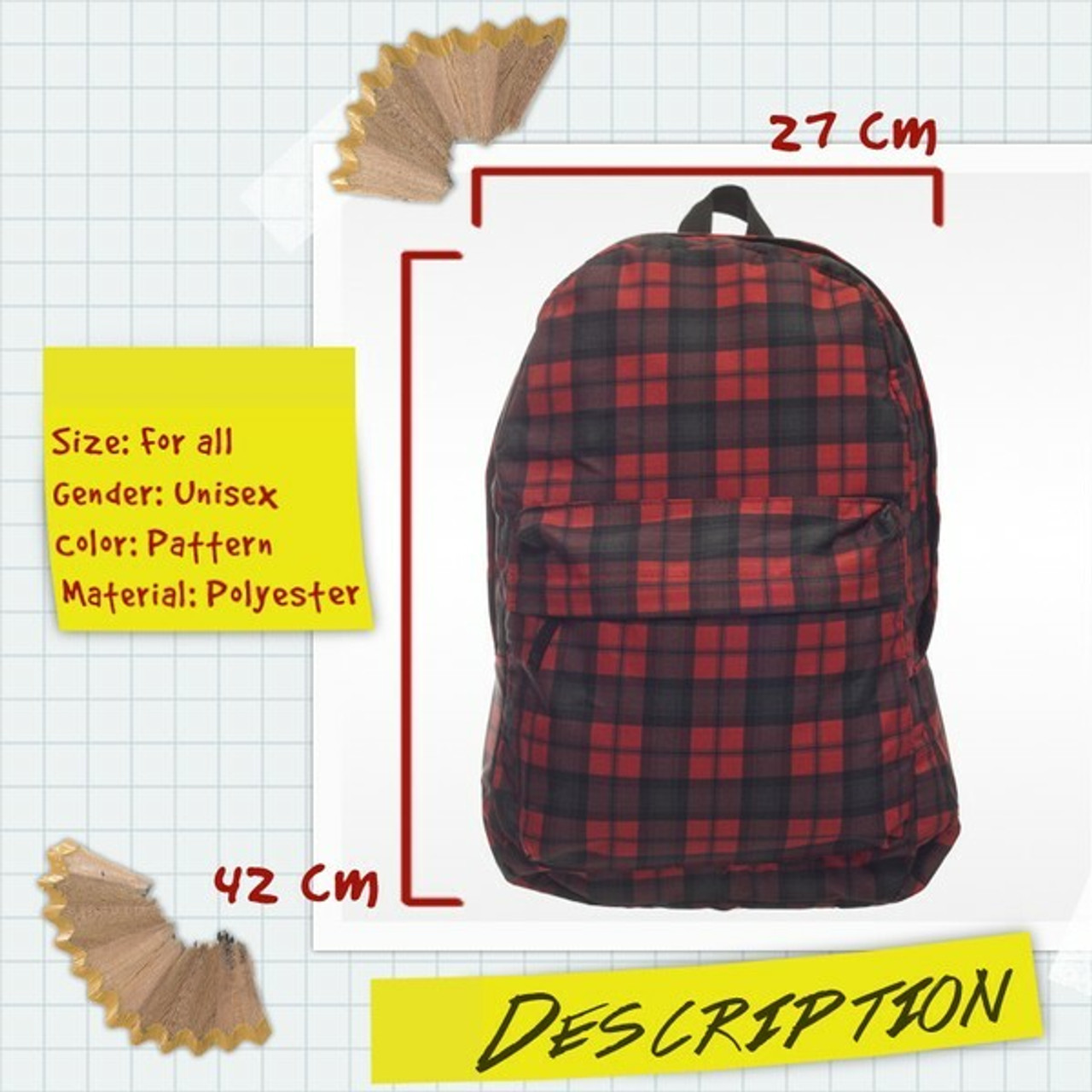 Details and dimensions for Black and Red Plaid Graphic Print Backpack