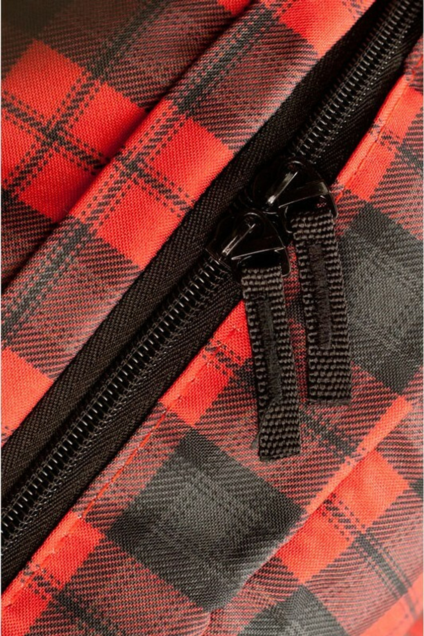 Close-up of Black and Red Plaid Graphic Print Backpack