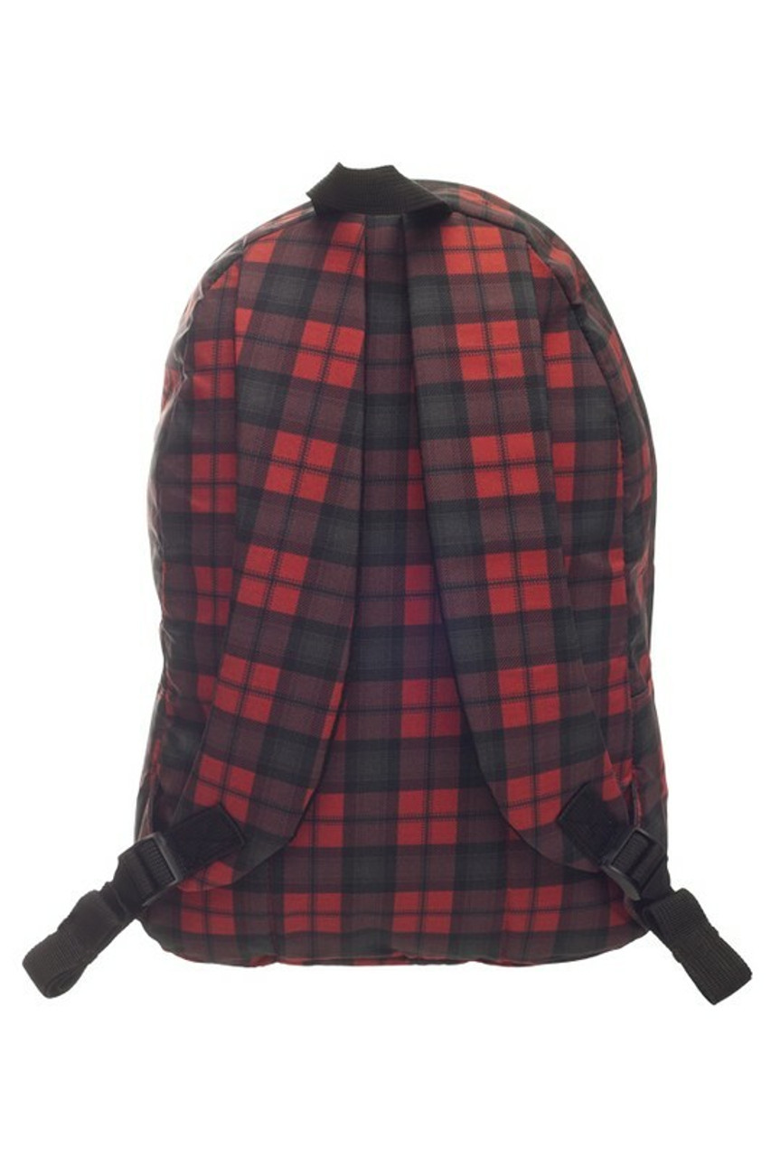 Back side of Black and Red Plaid Graphic Print Backpack