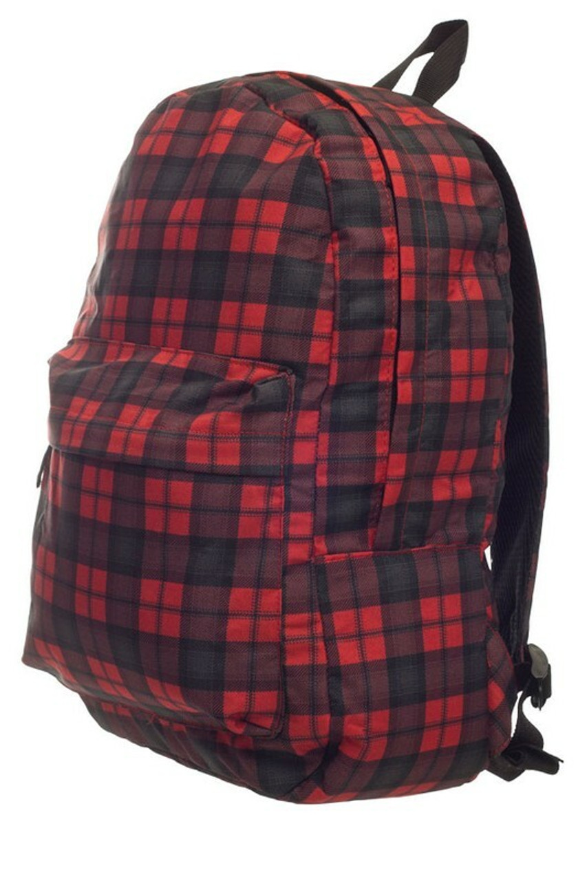 45 degree of Black and Red Plaid Graphic Print Backpack