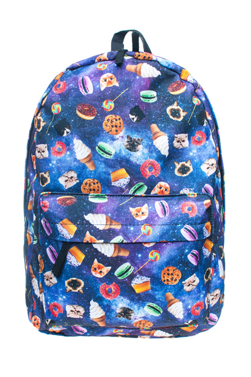Front of Galaxy Kitty Cats and Treats Graphic Print Backpack with a fabulous eye-catching design