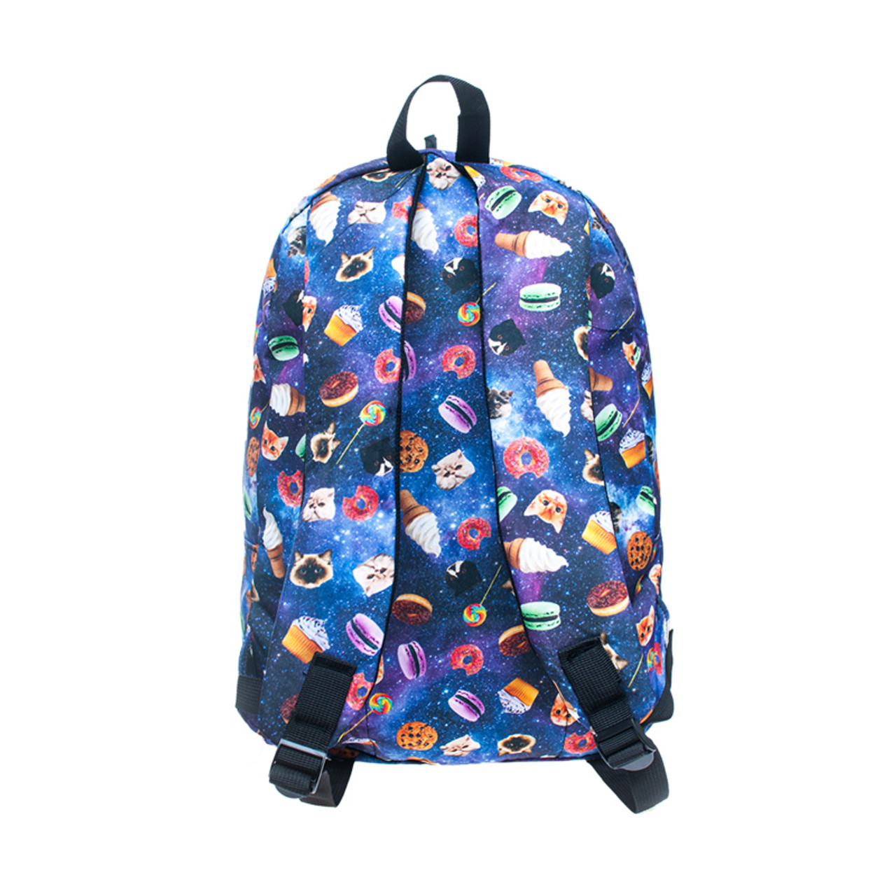Back side of Galaxy Kitty Cats and Treats Graphic Print Backpack