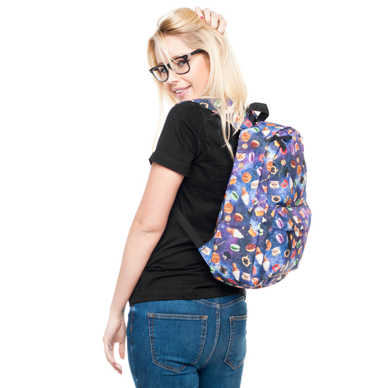 Model wearing Galaxy Kitty Cats and Treats Graphic Print Backpack